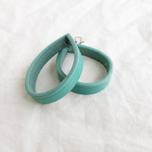 Teal Leather Loopy Earrings