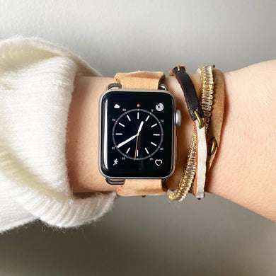 Natural Recycled Leather Apple Watch Band with Antique Bronze Toggle - for 38/40mm  or 42/44mm - Made to Order
