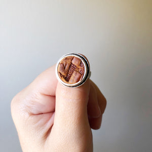 Brown Chevron Adjustable Recycled Leather Ring