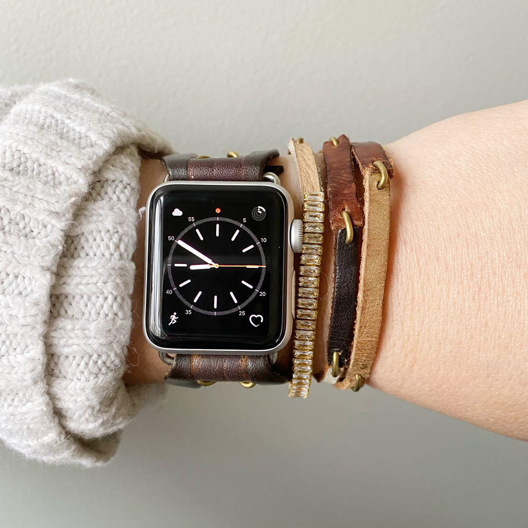 Dark Brown Recycled Leather Apple Watch Band with Antique Bronze Toggle - for 38/40mm  or 42/44mm - Made to Order
