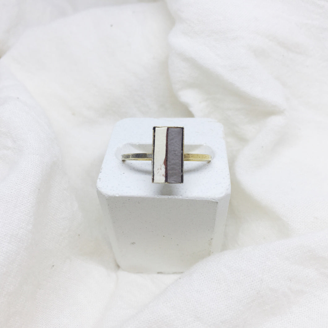 Dainty Rectangle Ring - White and Gray on Gold Band - Size 8