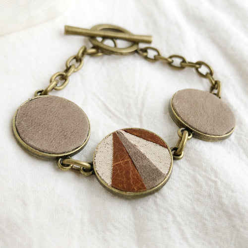 Recycled Leather Mosaic Bracelet - Gray, Brown, Sparkle