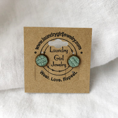 Textured Teal Stud Earrings made with Recycled Leather - Laundry Girl Jewelry