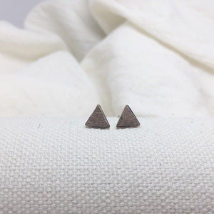 Teeny Triangle Studs - Light Grayish Brown- Filled with Recycled Leather