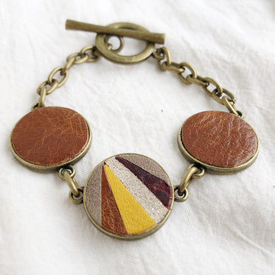 Recycled Leather Mosaic Bracelet - Gray, Sparkle, Brown, Dark Brown, Mustard Yellow - Laundry Girl Jewelry