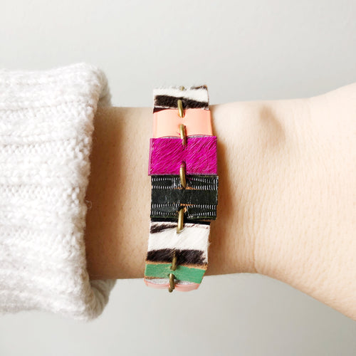 Springy Party Cuff - Recycled Leather Pieced Together to add a Colorful Pop on Your Wrist