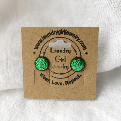 Metaillic Green Stud Earrings made with Recycled Leather - Laundry Girl Jewelry