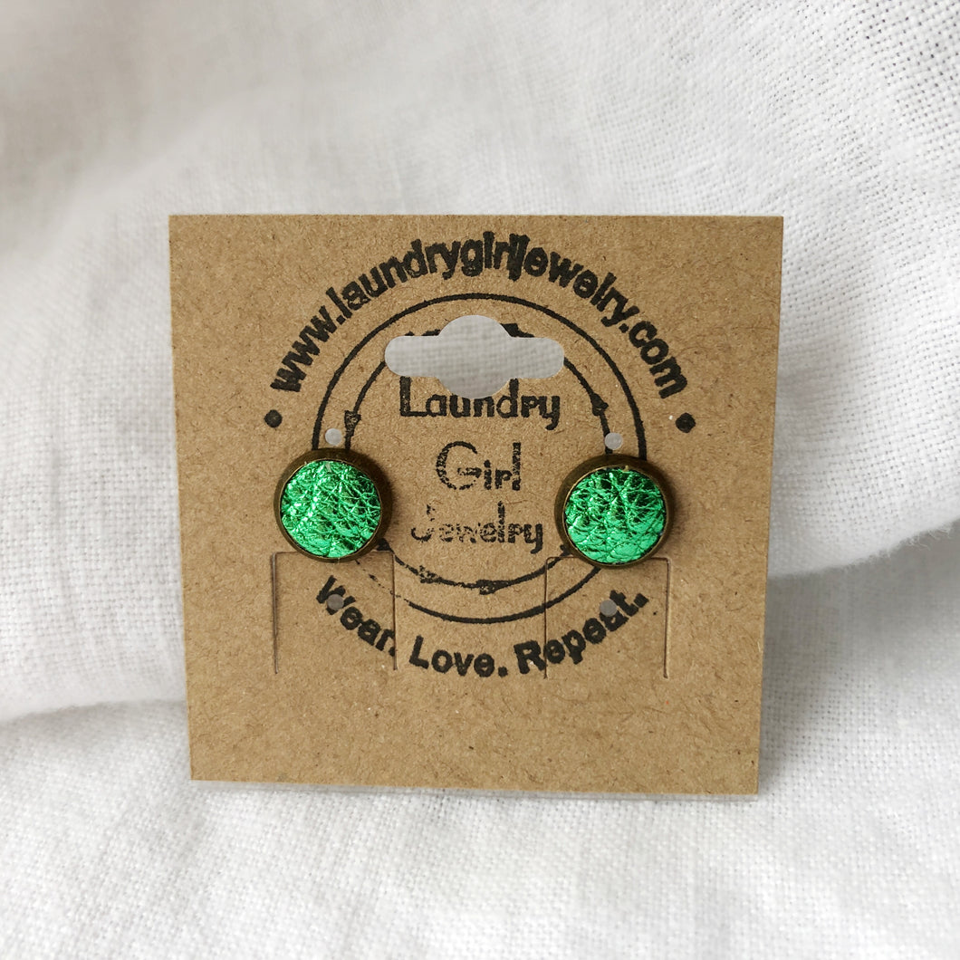 Metaillic Green Stud Earrings made with Recycled Leather