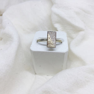 Dainty Rectangle Ring - Distressed Gold and Sparkle on Gold Band - Size 8