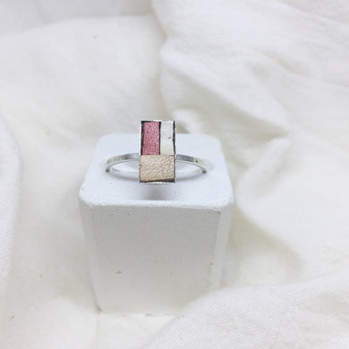 Dainty Rectangle Ring - Peach, Distressed Beige, and White on Silver Band - Size 8