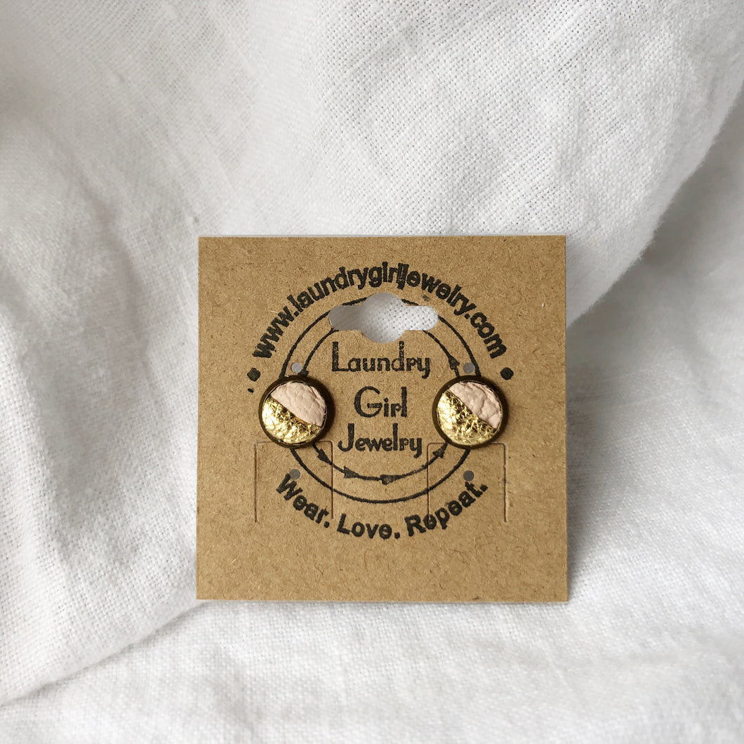 Metallic Gold & Nude Pink Stud Earrings made with Recycled Leather - Laundry Girl Jewelry