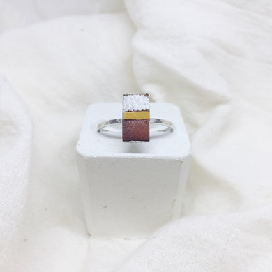 Dainty Rectangle Ring - Distressed White, Mustard Yellow and Brown on Silver Band - Size 8