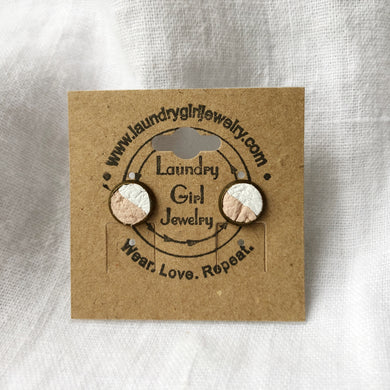 Nude Pink & White Stud Earrings made with Recycled Leather - Laundry Girl Jewelry