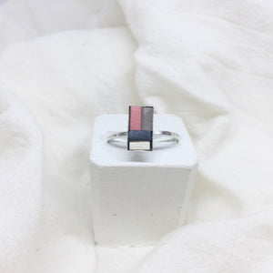 Dainty Rectangle Ring - Peach, Gray, Black, and White on Silver Band - Size 8