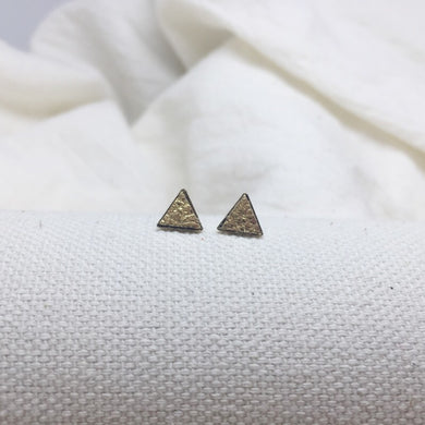 Teeny Triangle Studs - Gold - Filled with Recycled Leather