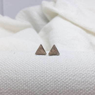 Teeny Triangle Studs - Cork - Filled with Recycled Leather