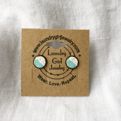 Sky Blue & White Stud Earrings made with Recycled Leather - Laundry Girl Jewelry