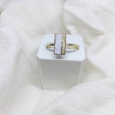 Dainty Rectangle Ring - Gold and Distressed White on Gold Band - Size 8