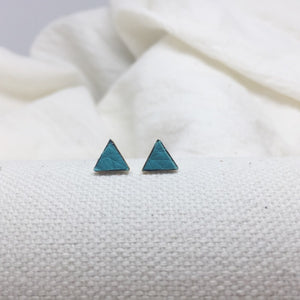Teeny Triangle Studs - Teal - Filled with Recycled Leather