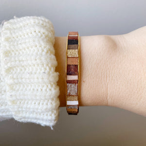 Genie Bangle - Its Magic!  Recycled Leather and Gold Plated Brass