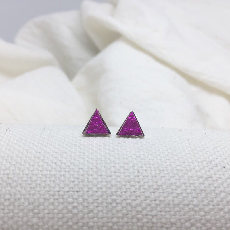 Teeny Triangle Studs - Fuchsia - Filled with Recycled Leather