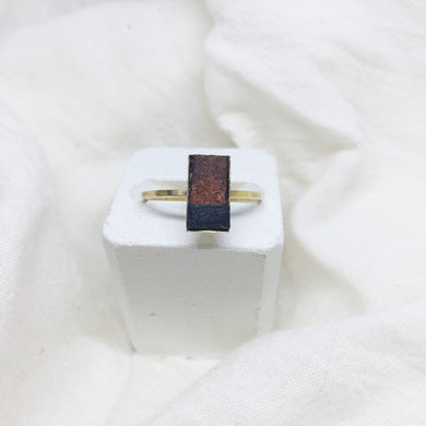 Dainty Rectangle Ring - Brown and Black on Gold Band - Size 8