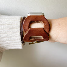 Load image into Gallery viewer, Brown Recycled Leather Apple Watch Band with Antique Bronze Toggle - for 38/40mm  or 42/44mm - Made to Order