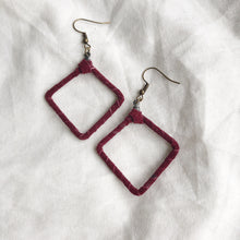 Load image into Gallery viewer, Be Square - Recycled Leather Wrapped Earrings