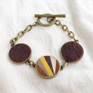 Recycled Leather Mosaic Bracelet - Gray, Sparkle, Brown, Dark Brown, Mustard Yellow
