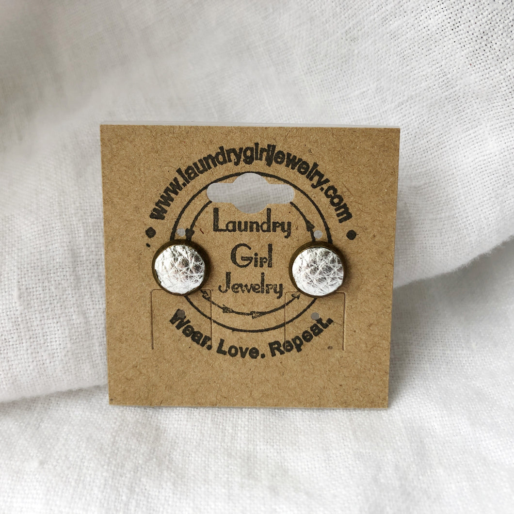 Metallic Silver Stud Earrings made with Recycled Leather - Laundry Girl Jewelry