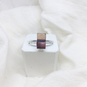 Dainty Rectangle Ring - Nude, Black and Brown on Silver Band - Size 8