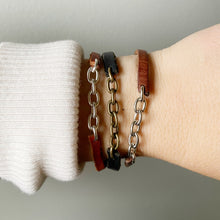 Load image into Gallery viewer, Recycled Leather and Chain Bangle - Cognac