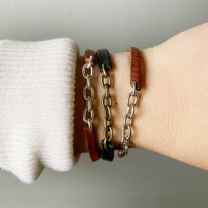 Recycled Leather and Chain Bangle - Cognac