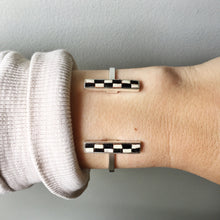 Load image into Gallery viewer, Bar Cuff - Black and Cream Checked Recycled Leather on Silver - Laundry Girl Jewelry