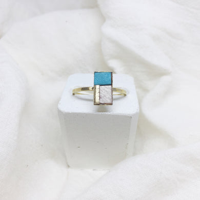 Dainty Rectangle Ring - White, Teal, and Gold on Gold Band - Size 8