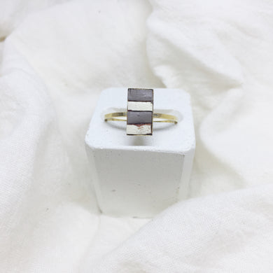 Dainty Rectangle Ring - Gray and White on Gold Band - Size 8