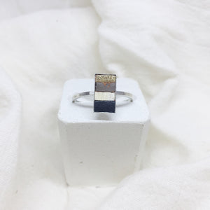 Dainty Rectangle Ring - Gold, Gray, White, and Black on Silver Band - Size 8