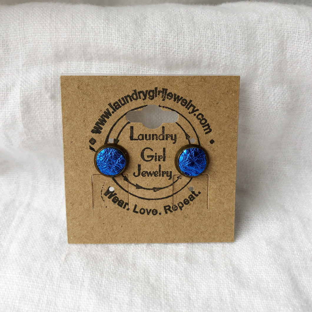 Metallic Blue Stud Earrings made with Recycled Leather - Laundry Girl Jewelry