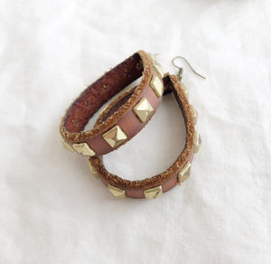 Brown Studded Leather Loopy Earrings - Laundry Girl Jewelry