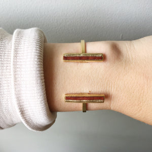 Bar Cuff - Brown and Gold Recycled Leather on Gold - Laundry Girl Jewelry