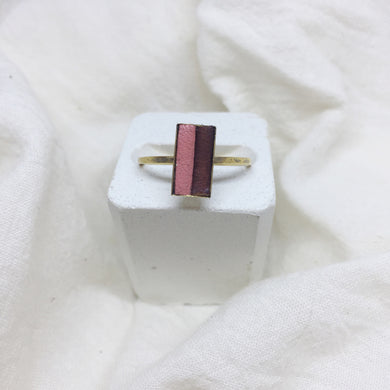 Dainty Rectangle Ring - Peach and Brown on Gold Band - Size 8
