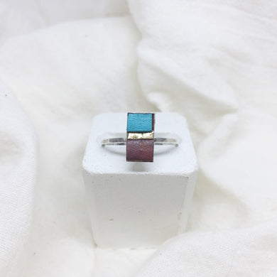 Dainty Rectangle Ring - Teal, Gold, and Brown on Silver Band - Size 8