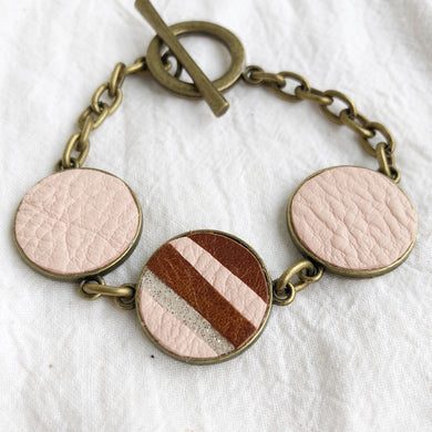 Recycled Leather Mosaic Bracelet - Brown, Pink, Sparkle Stripes - Laundry Girl Jewelry