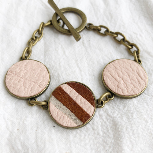Recycled Leather Mosaic Bracelet - Brown, Pink, Sparkle Stripes