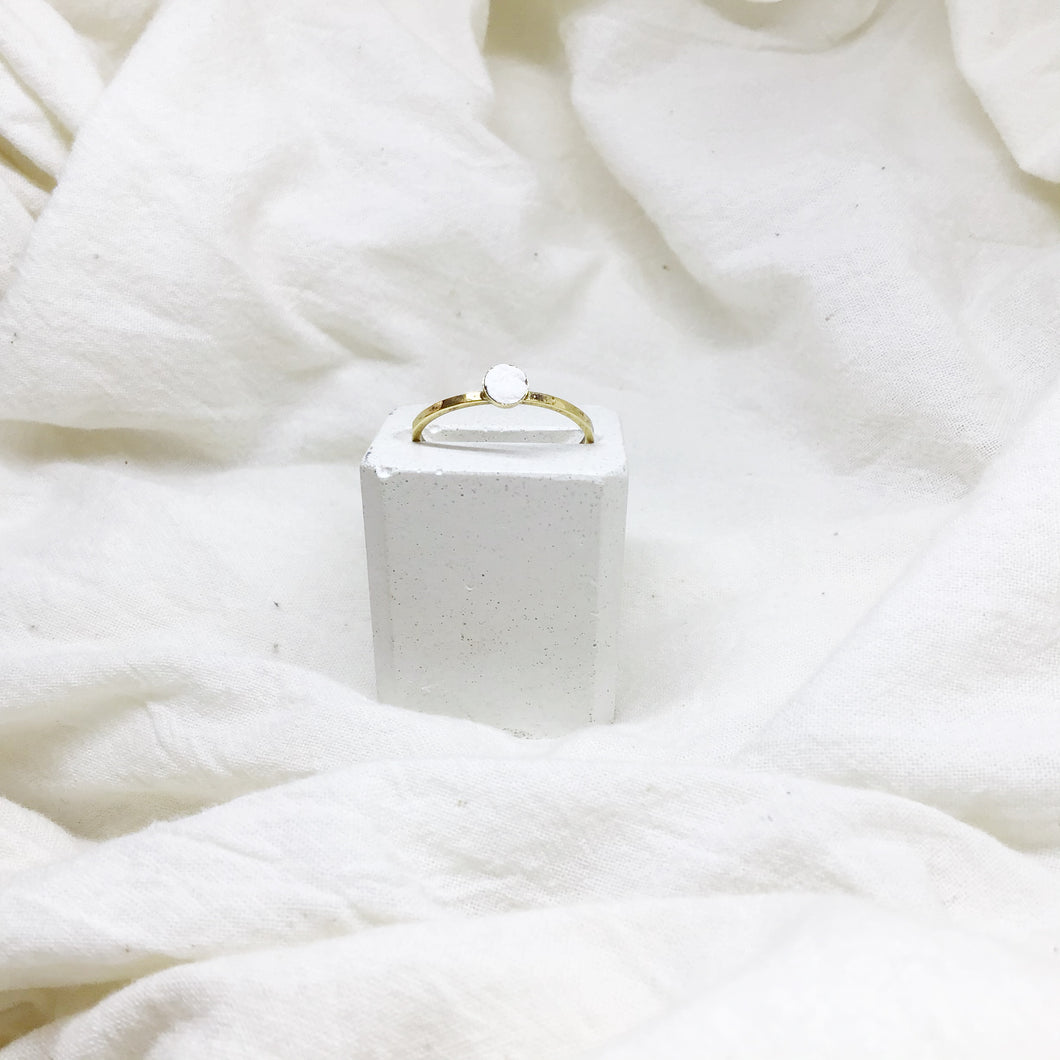 Dainty Stacking Rings Filled with White Recycled Leather - Size 8 - Gold Band
