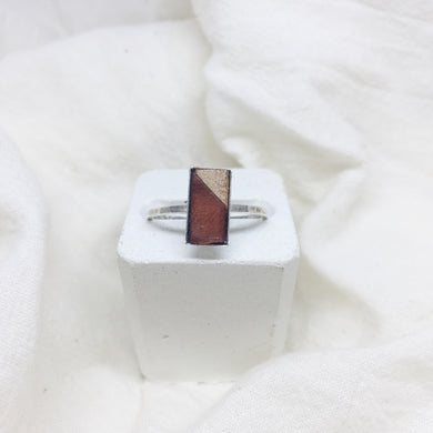 Dainty Rectangle Ring - Brown and Nude on Silver Band - Size 8