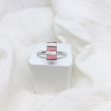Dainty Rectangle Ring - Peach and White on Silver Band - Size 8