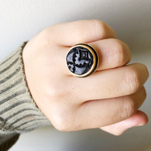 Black Adjustable Recycled Leather Ring