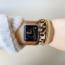 Load image into Gallery viewer, Cognac Brown Recycled Leather Apple Watch Band with Antique Bronze Toggle - for 38/40mm  or 42/44mm - Made to Order