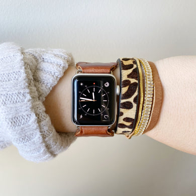 Cognac Brown Recycled Leather Apple Watch Band with Antique Bronze Toggle - for 38/40mm  or 42/44mm - Made to Order